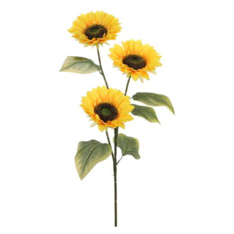 Slunečnice řezaná umělá 3 květy žlutá 92cm