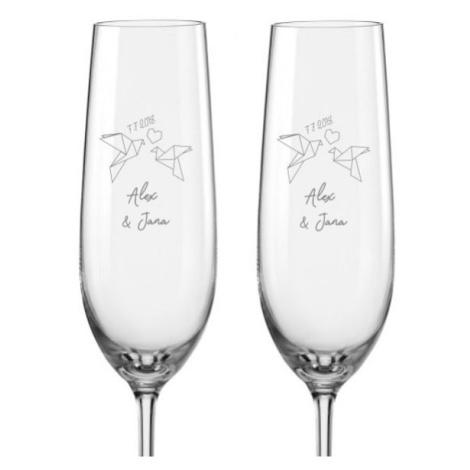 Svatební skleničky na sekt HRDLIČKY ORIGAMI, 2 ks