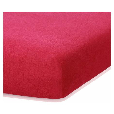 Bordó červené elastické prostěradlo s vysokým podílem bavlny AmeliaHome Ruby, 140/160 x 200 cm