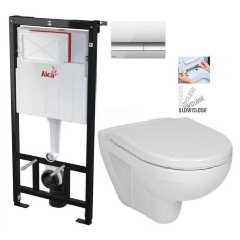 ALCAPLAST Sádromodul předstěnový instalační systém s chromovým tlačítkem M1721 + WC JIKA LYRA PL