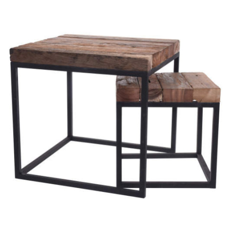 Stolek hranatý dřevo/kov malý 35cm Koopman