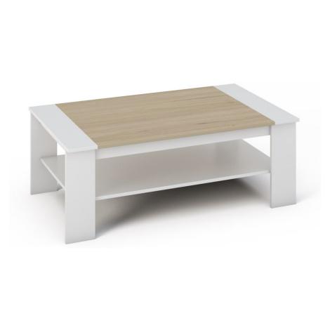 Konferenční stolek 120x71 cm v kombinaci bílé a dubu sonoma s policí KN534 Casarredo