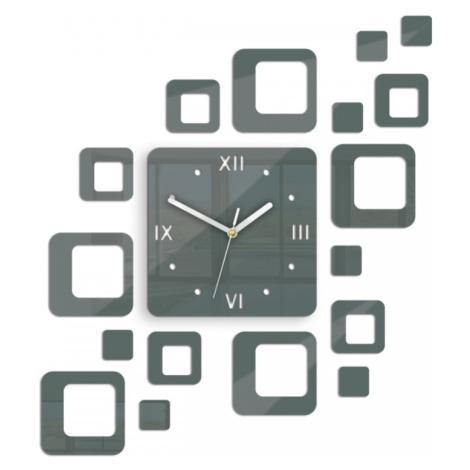 Mazur 3D nalepovací hodiny Roman Quadrat tmavě šedé
