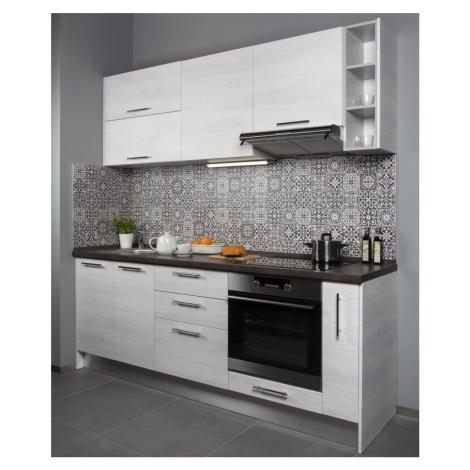 Kuchyňská linka Naturel Gia 220x219x60 cm mat borovice bílá GIASET8