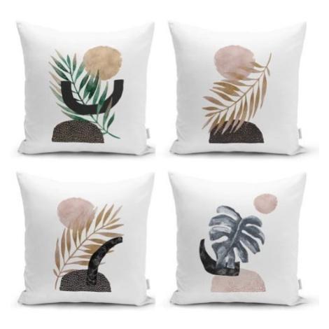 Sada 4 dekorativních povlaků na polštáře Minimalist Cushion Covers Geometric Leaf, 45 x 45 cm