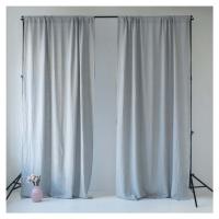 Šedý lněný závěs s tunýlkem Linen Tales Night Time, 275 x 140 cm