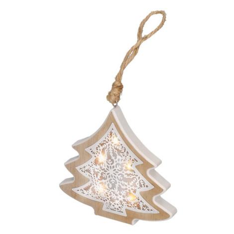 Solight LED vánoční stromek, dřevěný dekor, 6LED, teplá bílá, 2x AAA 1V45-T Teplá bílá