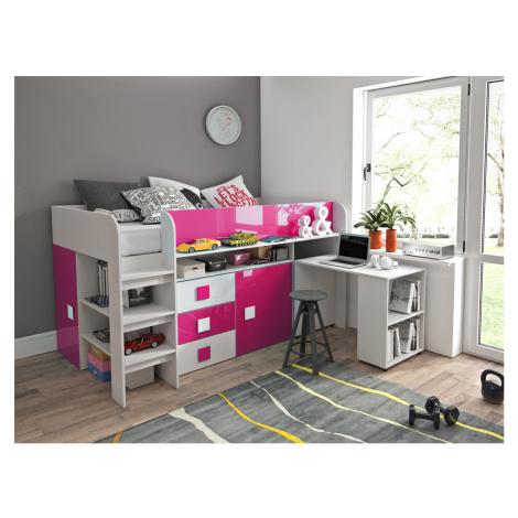 Dětský pokoj s postelí Trego, bílá/růžový lesk