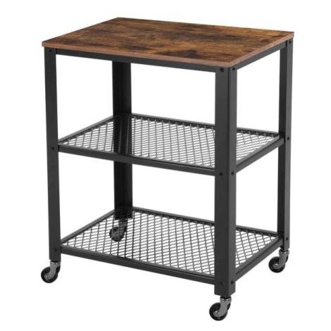 Sconto Servírovací stolek TAVIRA černá/hnědá