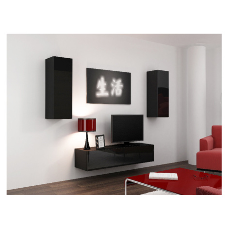 Obývací stěna VIGO 7, černá/černý lesk CAMA