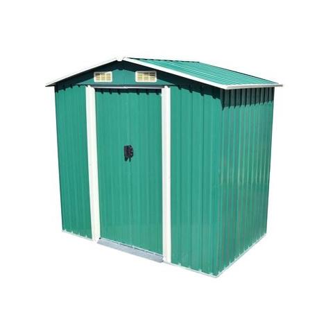 Zahradní domek na nářadí zelený kovový 204x132x186 cm SHUMEE