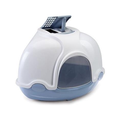 IMAC Krytý kočičí záchod rohový s filtrem 52 × 52 × 44,5 cm modrý