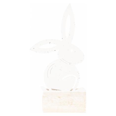 Kovová dekorace zajíce na dřevěném špalku - 14*8*25 cm
