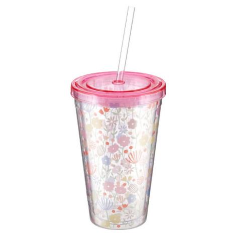 Světle růžový kelímek s brčkem Premier Housewares Casey, 450 ml