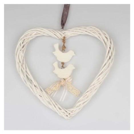 Bílá závěsná ratanová dekorace Dakls Heart Small