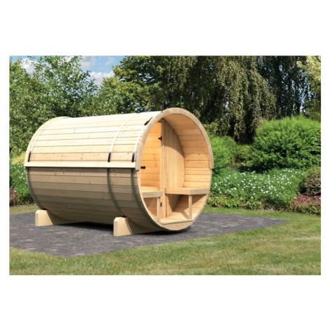 Venkovní finská sudová sauna 216 x 280 cm Dekorhome Lanitplast