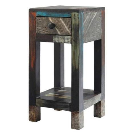 Sconto Přístavný stolek GOA mangovník/akácie/kovové aplikace
