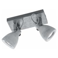 Šedé nástěnné svítidlo na 2 žárovky Trio Concrete, délka 23 cm