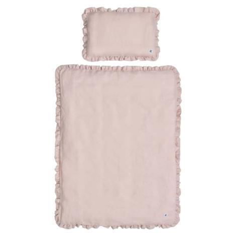 Růžové dětské lněné povlečení BELLAMY Dusty Pink, 100 x 135 cm