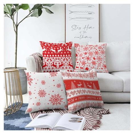 Sada 4 vánočních žinylkových povlaků na polštář Minimalist Cushion Covers Red Snowflakes, 55 x 5