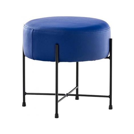 Stolička / taburetka France kůže modrá BHM Germany