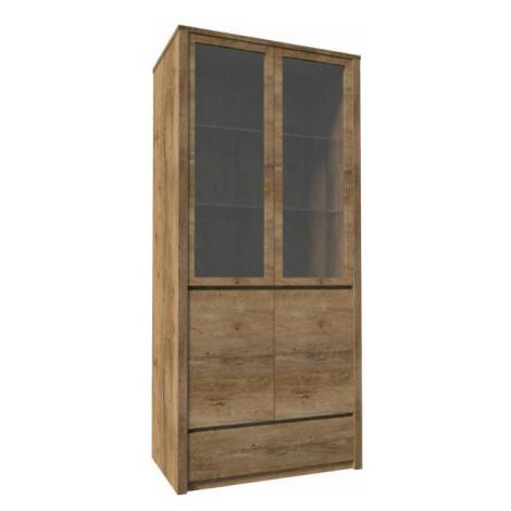 Vitrína s jednou zásuvkou a dvěma předělenými dveřmi - plnými a prosklenými, dub lefkas, MONTANA Tempo Kondela