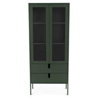Tmavě zelená vitrína Tenzo Uno, šířka 76 cm