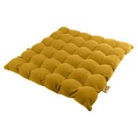 Tmavě žlutý sedací polštářek s masážními míčky Linda Vrňáková Bubbles, 65 x 65 cm