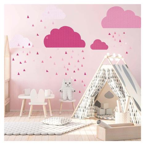 Růžová nástěnná samolepka Ambiance Scandinavian Clouds