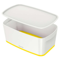 Bílo-žlutý úložný box s víkem Leitz Office, objem 5 l