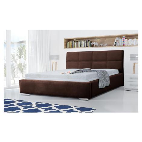 Eka Čalouněná postel Flow 120x200 cm Barva látky Trinity: (2308) Tmavá hnědá