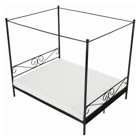 Kovová postel s nebesy, černá, 160x200, Abena Tempo Kondela