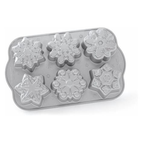 Nordic Ware Forma na mini bábovky Sněhové vločky 6 tvarů 0,7 l, stříbrná