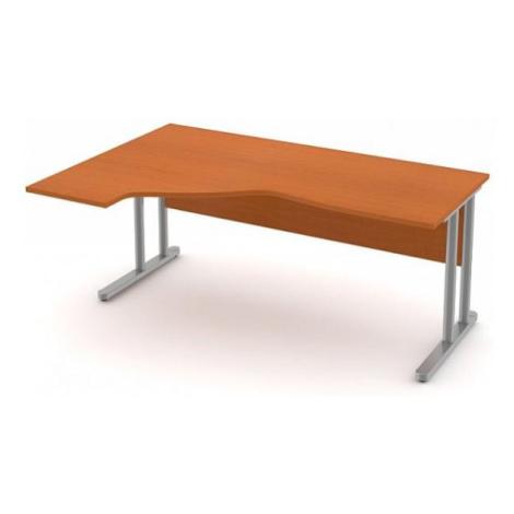 Stůl pracovní rohový ERGO - kovová podnož třešeň, Levý, 220 cm, Šedá bez výplně, Záda-dekor desk