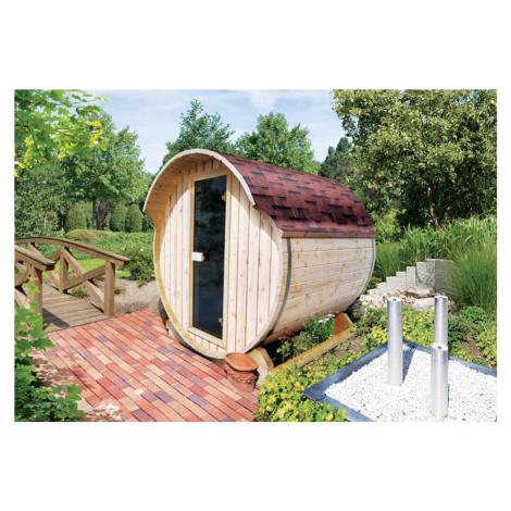 Venkovní finská sudová sauna 216 x 220 cm Dekorhome Lanitplast