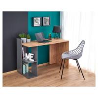 Moderní PC stůl Fofo, dub wotan/šedá