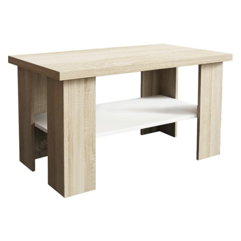 Konferenční stolek Olga Bílý/Dub Sonoma BAUMAX