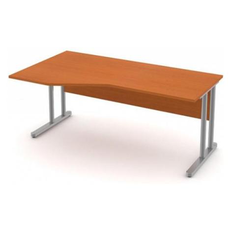 Stůl pracovní rohový - kovová podnož třešeň, Pravý rohový stůl, 220 cm, Šedá bez výplně, Záda-de