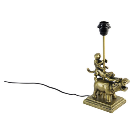 Vintage stolní lampa mosaz - Flodhest Abe QAZQA