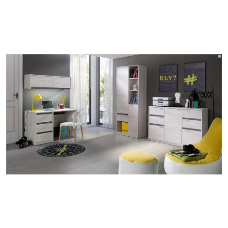 Studentský nábytek Drake A, dub bílý/grafit lesk