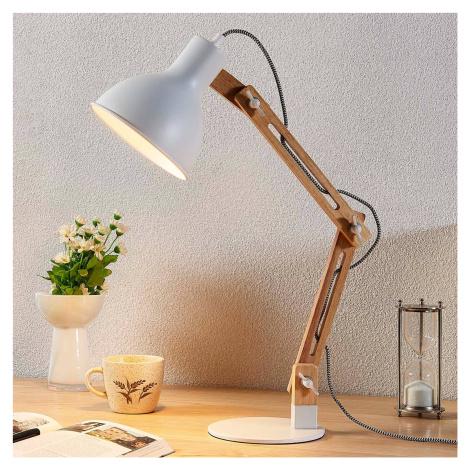 Lindby Dřevěná lampa na psací stůl Shivanja se stínidlem
