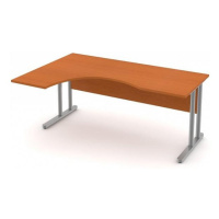 Stůl pracovní rohový vykrojený - kovová podnož třešeň, Levý, 140 cm, Šedá bez výplně, Záda-dekor