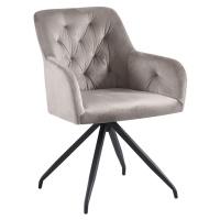 Otočná židle, šedohnědá Taupe Velvet látka/černá, VELEZA