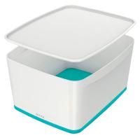 Bílo-tyrkysový úložný box s víkem Leitz Office, objem 18 l