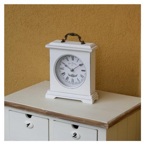 Stolní hodiny dřevěné bílé 26,5m NOVAline