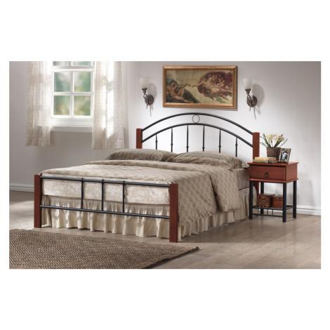 Manželská postel kovová 160x200 cm s roštem v dekoru třešeň antická KN139 Casarredo