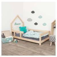 Dřevěná dětská postel domeček s levou bočnicí Benlemi Poppi, 80 x 160 cm