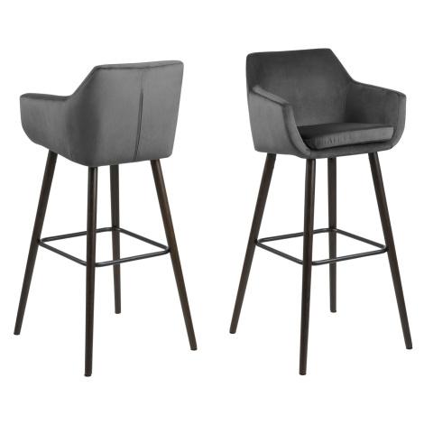 Dkton Designová barová židle Almond tmavě šedá / tmavohnědá