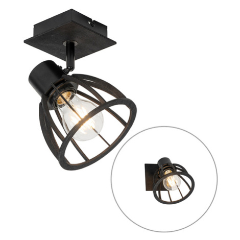 Průmyslová nástěnná lampa černá - Fotu QAZQA