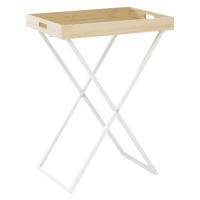 Servírovací stolek, přírodní/bílá, BELENE
